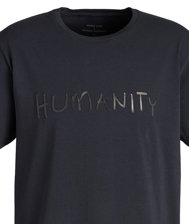 Navy HUMANITY Stretch-Cotton T-Shirt picture 3