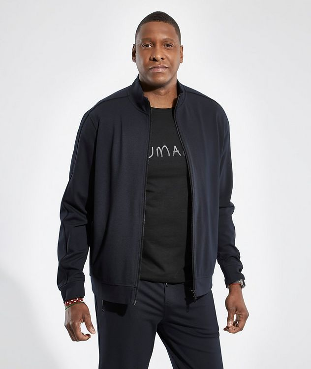 Navy HUMANITY Stretch-Cotton T-Shirt picture 4