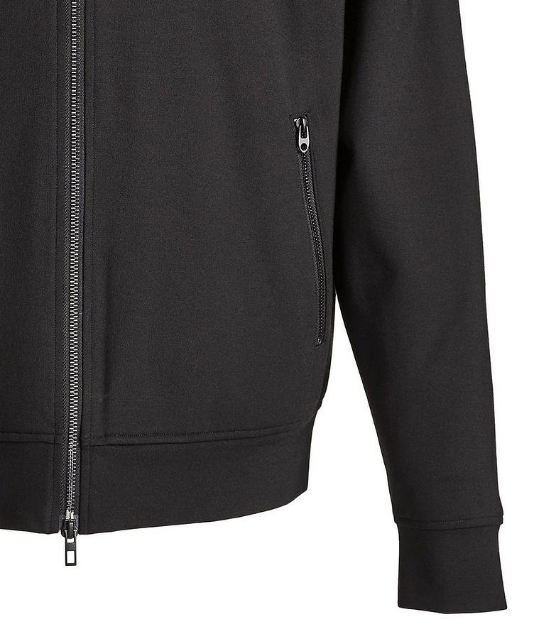 Black Zip-Up Jersey Hoodie image 3