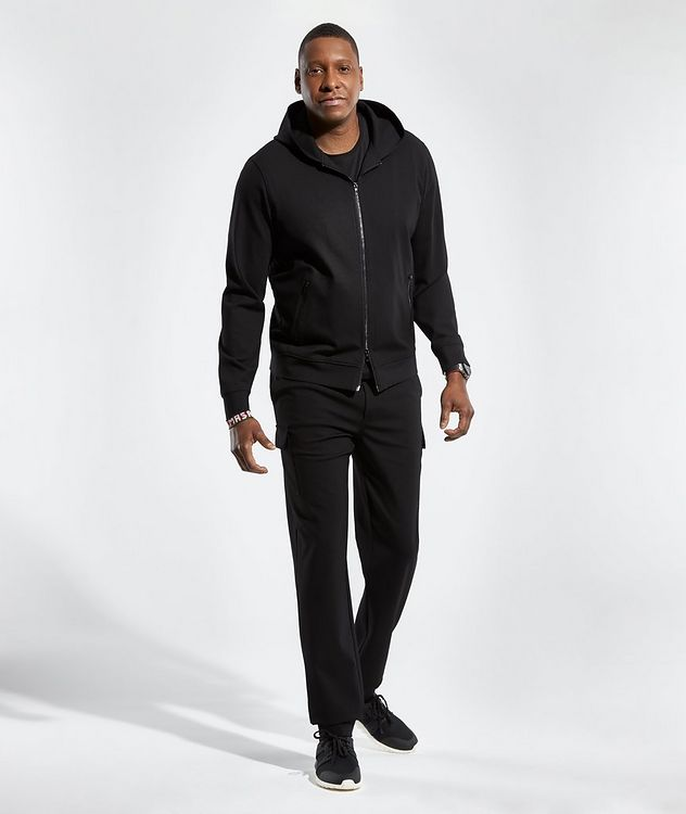 Black Zip-Up Jersey Hoodie picture 5
