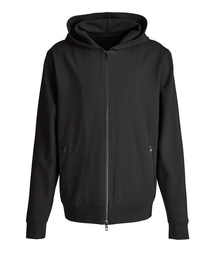 Black Zip-Up Jersey Hoodie image 0