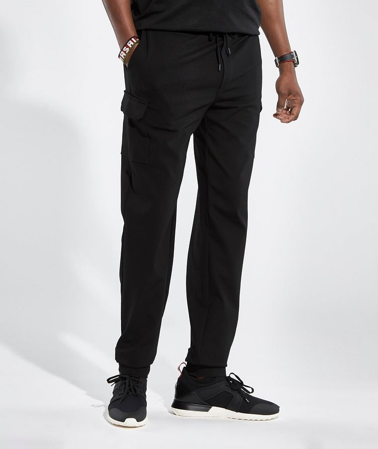 Black Cargo Jersey Joggers image 1