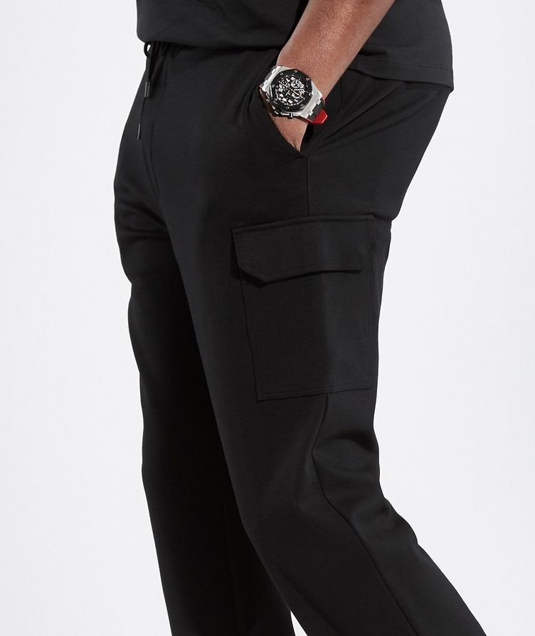 Black Cargo Jersey Joggers image 2