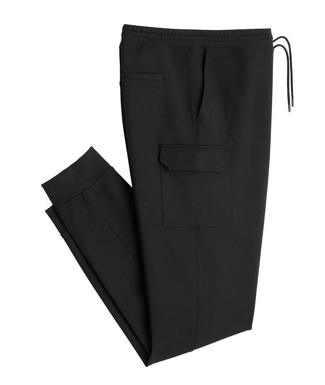 Black Cargo Jersey Joggers picture 1