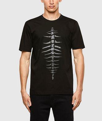 Diesel Tonal Fishbone Print T-Shirt