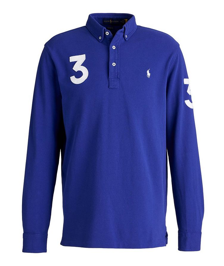 Long-Sleeve Piqué Cotton Polo image 0