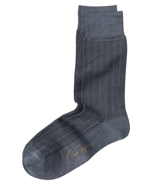 Herringbone Stretch-Cotton Socks picture 1