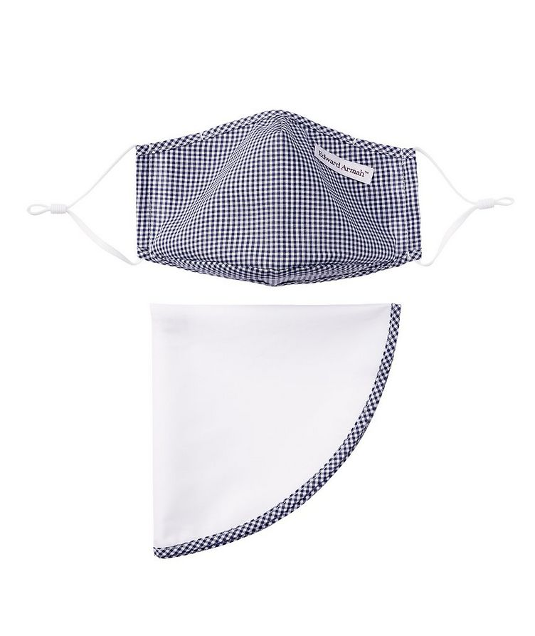 Gingham Face Mask and Pocket Square Set image 0