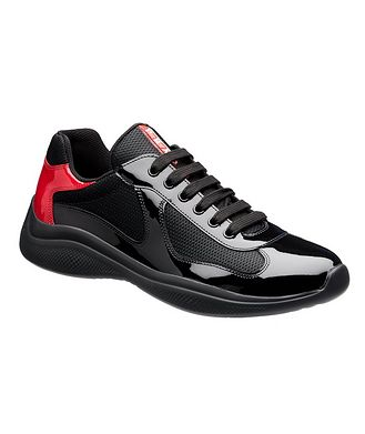 Prada New America'S Cup Patent Leather Bike Sneakers
