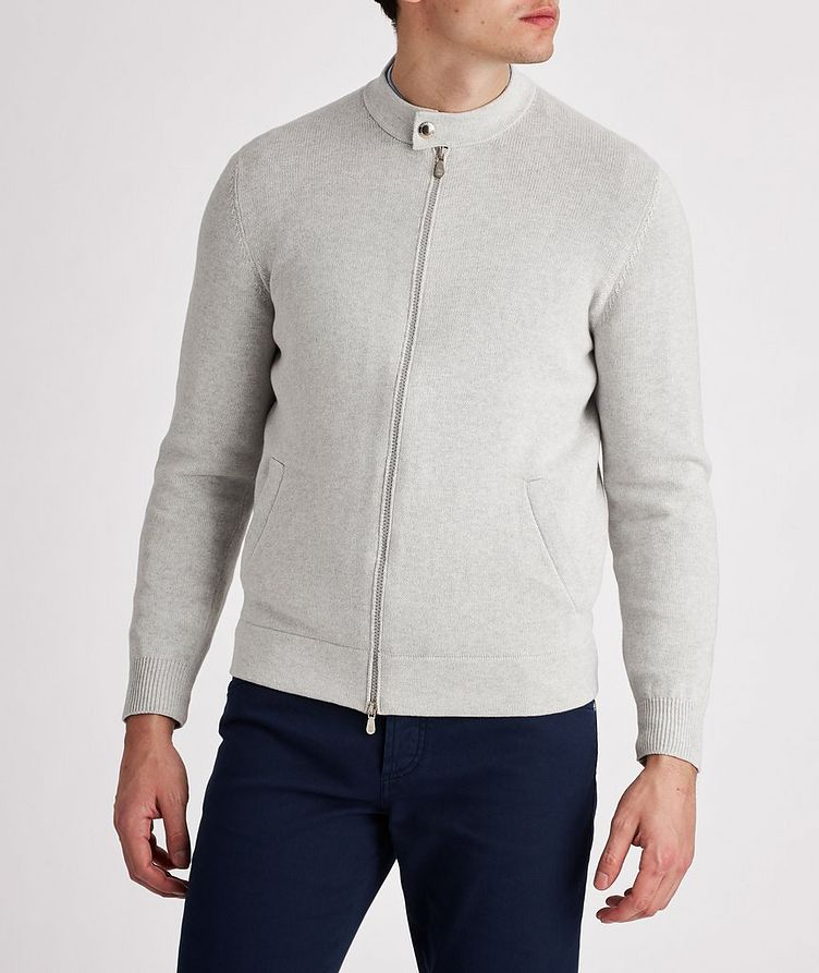 Knit Cotton Zip-Up Cardigan image 1