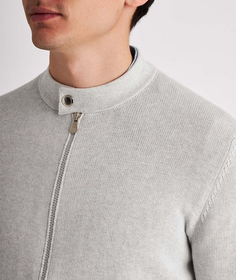 Knit Cotton Zip-Up Cardigan image 3