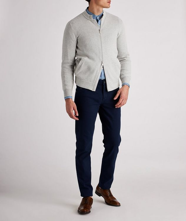 Knit Cotton Zip-Up Cardigan picture 5