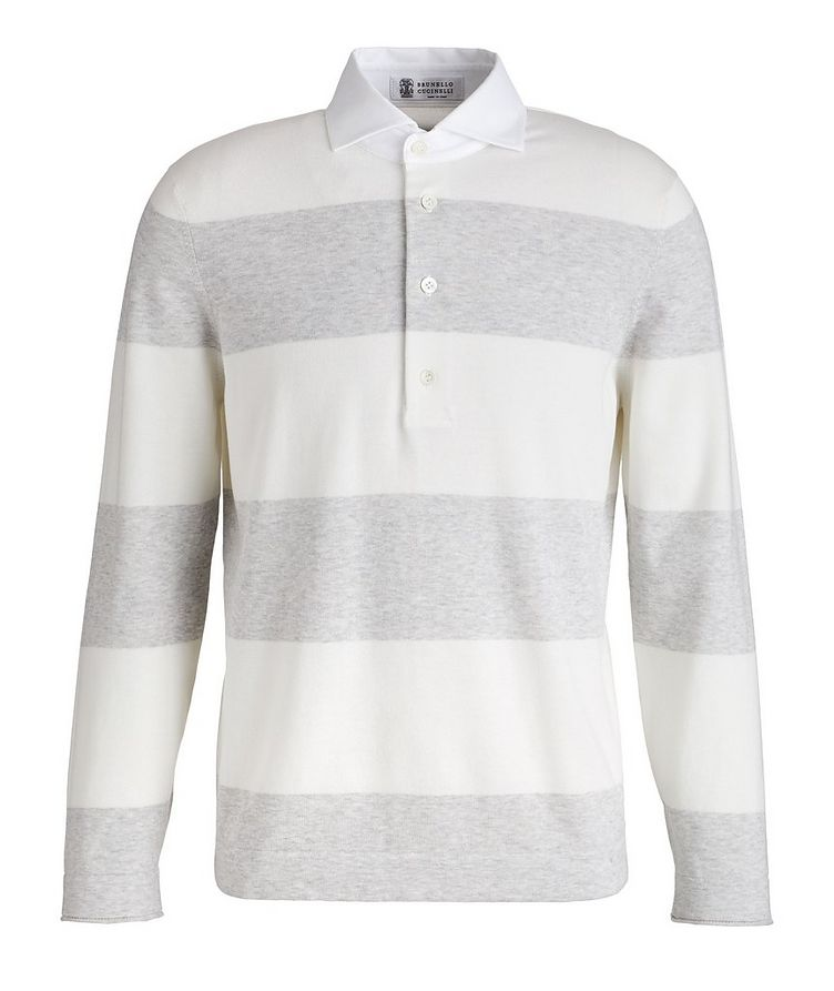 Long Sleeve Knit Cotton Polo image 0