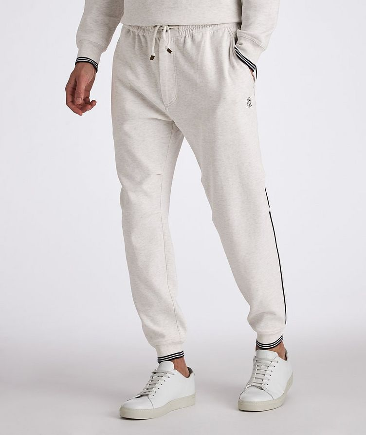 Cotton-Blend Pleated Drawstring Joggers image 1