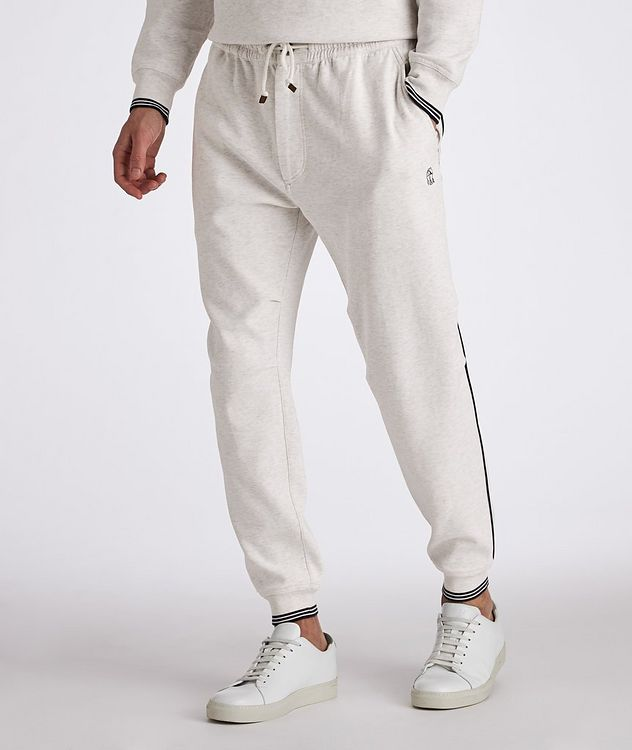 Cotton-Blend Pleated Drawstring Joggers picture 2