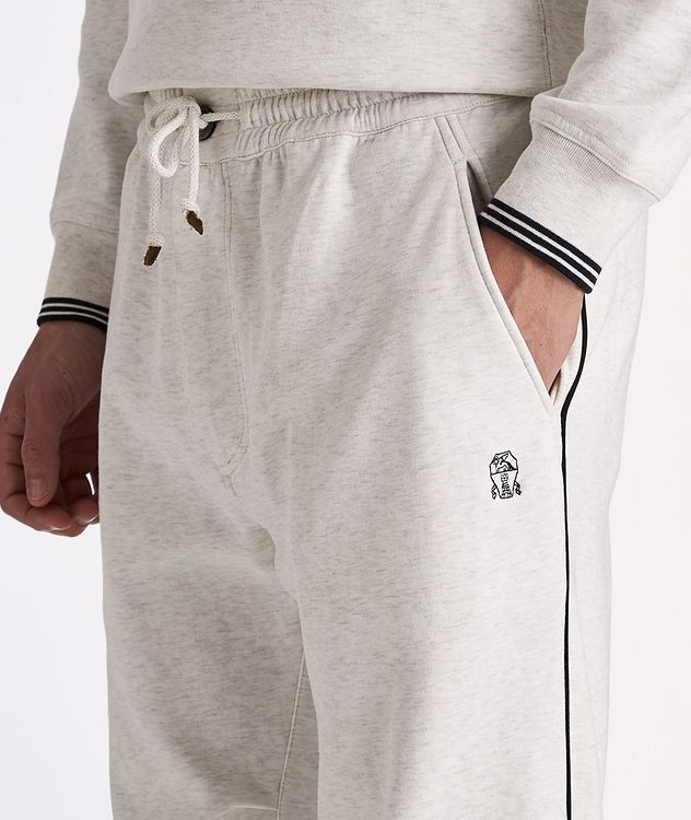 Cotton-Blend Pleated Drawstring Joggers picture 4