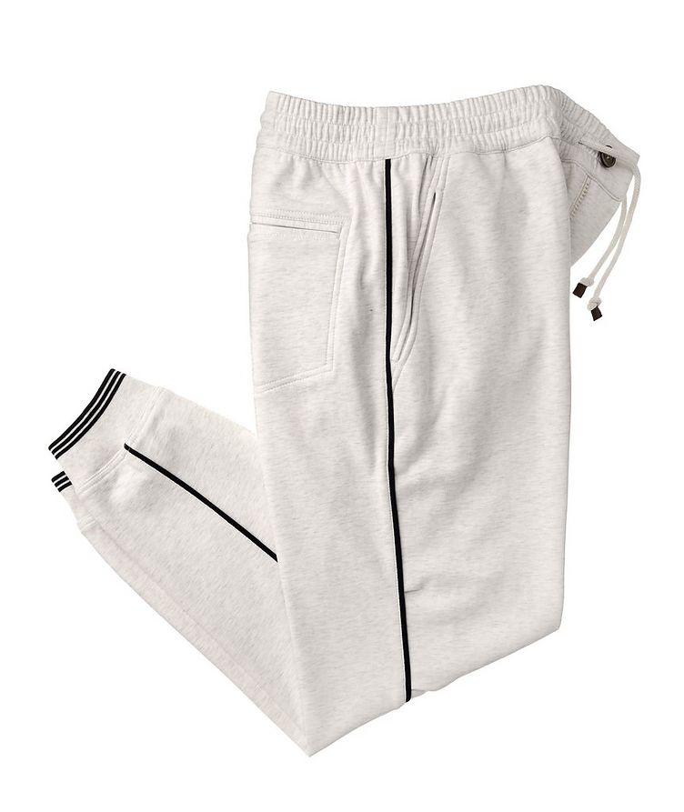 Cotton-Blend Pleated Drawstring Joggers image 0