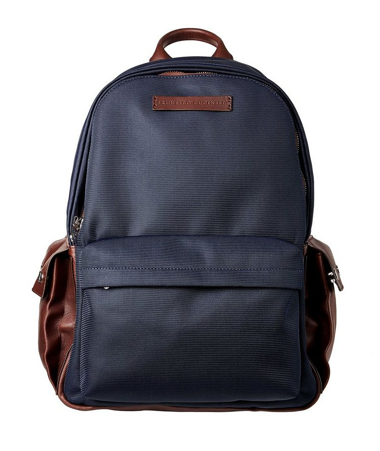 Nylon and Leather Backpack image 0