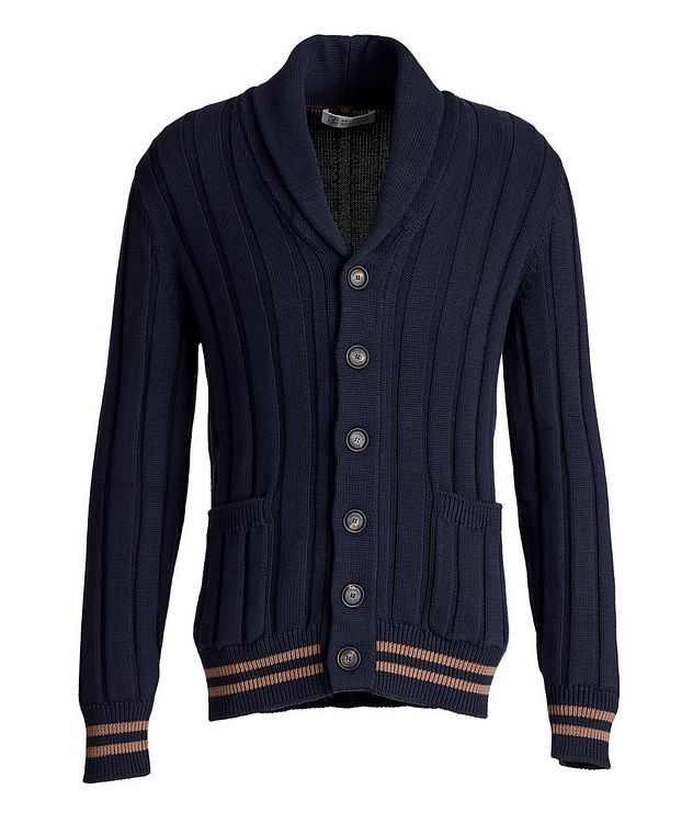 Shawl Collar Ribbed Cardigan picture 1