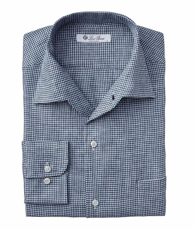 Andre Houndstooth Linen Shirt image 0
