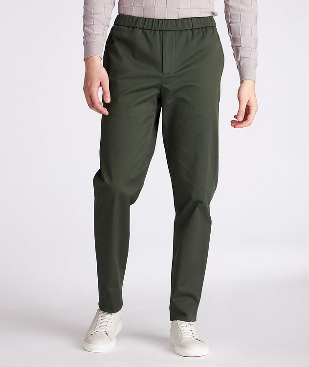 Leisure Flat Stretch-Cotton Pants picture 2
