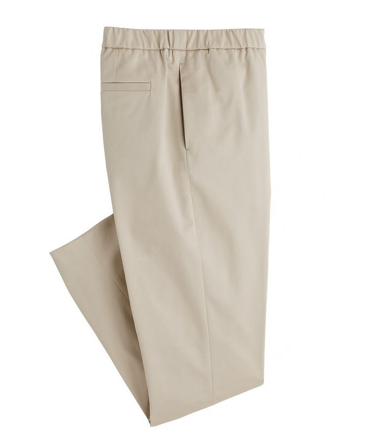 Leisure Flat Stretch-Cotton Pants image 0