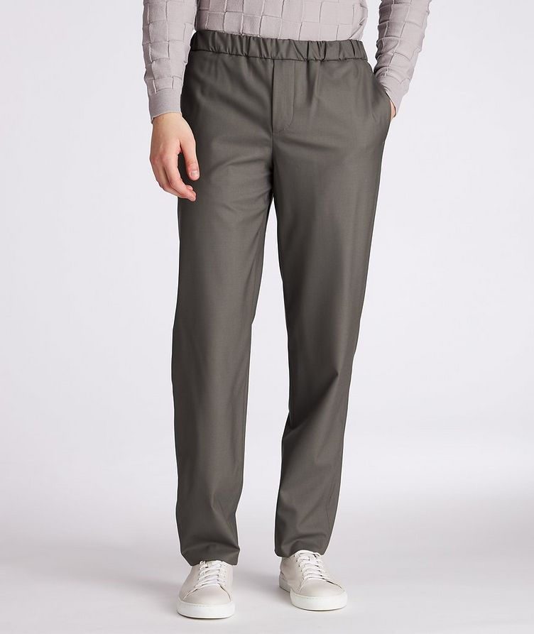 Leisure Flat Stretch-Wool Pants image 1
