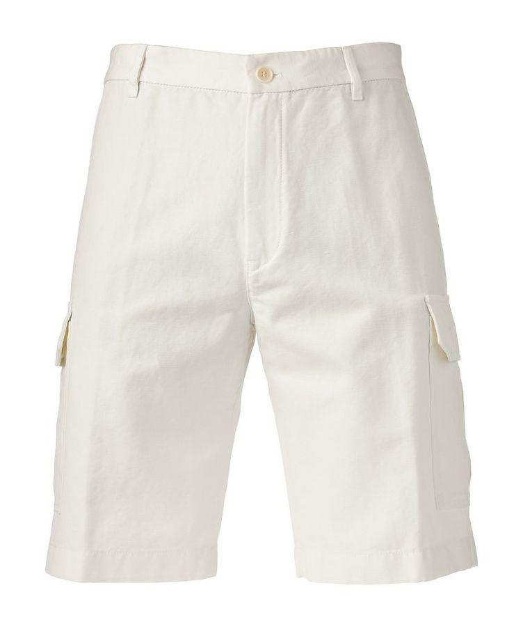 Cotton Linen Bermuda Cargo Shorts   image 0