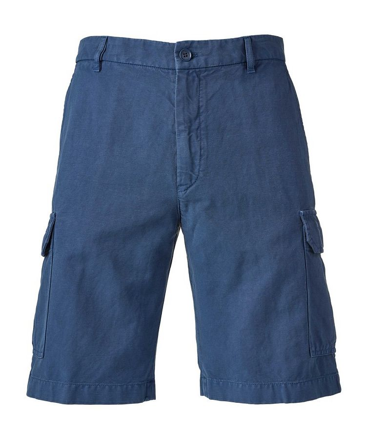 Bermuda en coton et lin à poches cargo image 0