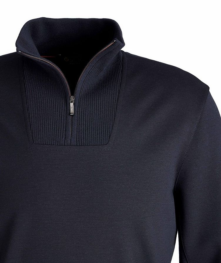 Stretch-Wool Quarter-Zip Sweater image 1