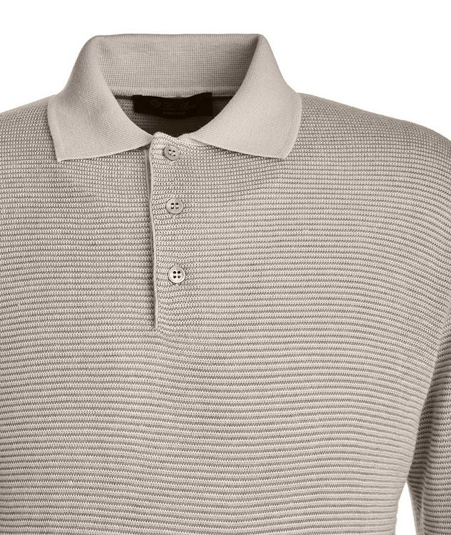 Woodmere Silk-Cashmere-Linen Knit Polo Sweater picture 2
