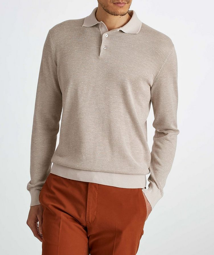 Woodmere Silk-Cashmere-Linen Knit Polo Sweater image 2