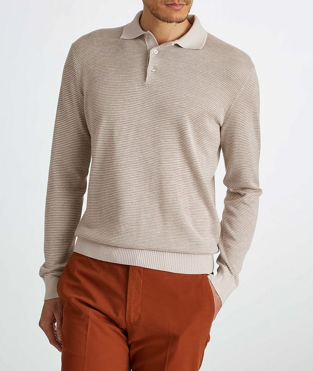 Woodmere Silk-Cashmere-Linen Knit Polo Sweater picture 3