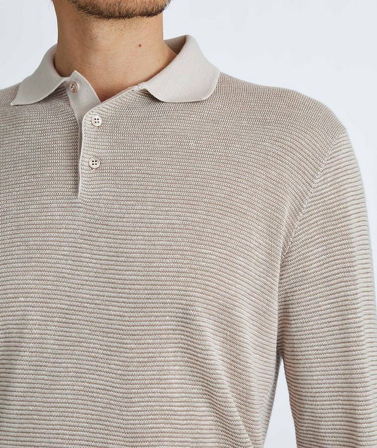 Woodmere Silk-Cashmere-Linen Knit Polo Sweater image 3