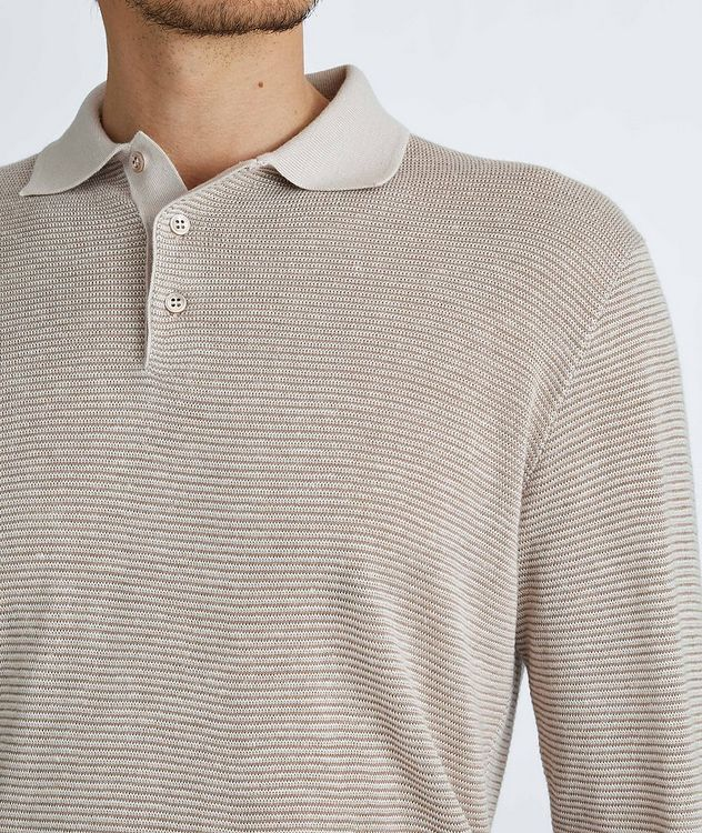 Woodmere Silk-Cashmere-Linen Knit Polo Sweater picture 4