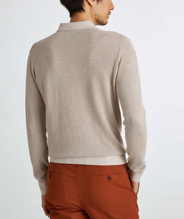 Woodmere Silk-Cashmere-Linen Knit Polo Sweater picture 5