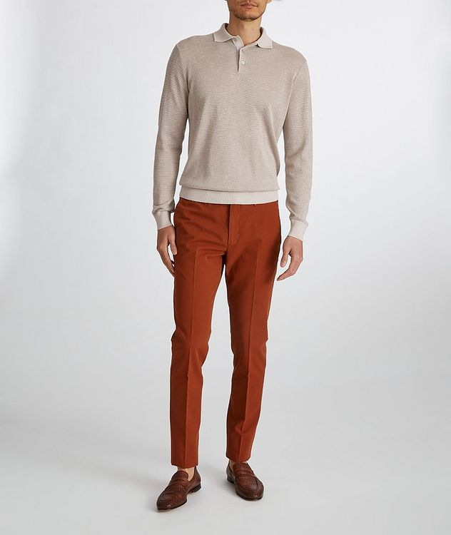 Woodmere Silk-Cashmere-Linen Knit Polo Sweater picture 6
