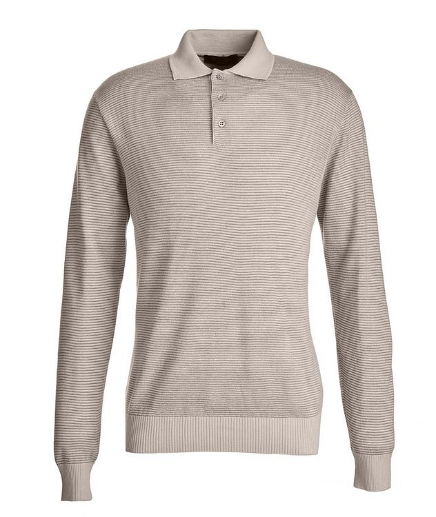 Woodmere Silk-Cashmere-Linen Knit Polo Sweater picture 1