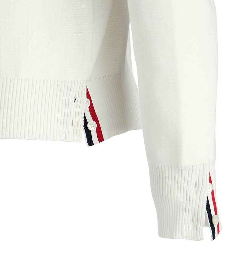 Striped-Sleeve Cotton Sweater image 1