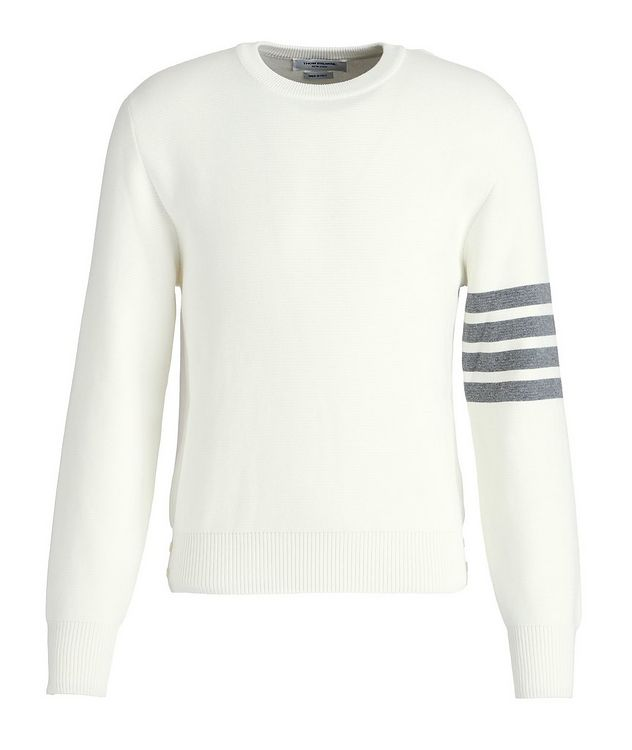 Striped-Sleeve Cotton Sweater picture 1