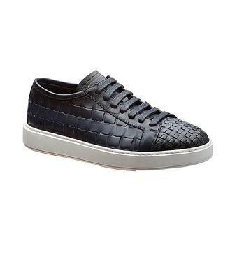 Santoni Woven Leather Sneakers