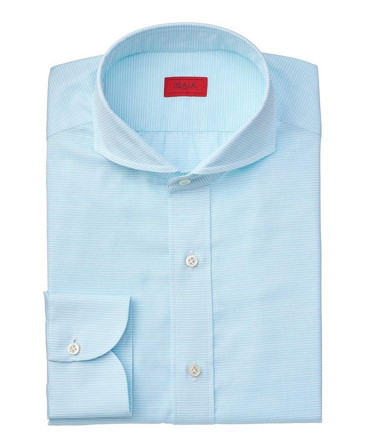 Chemise habillée en coton à rayures de coupe contemporaine image 0