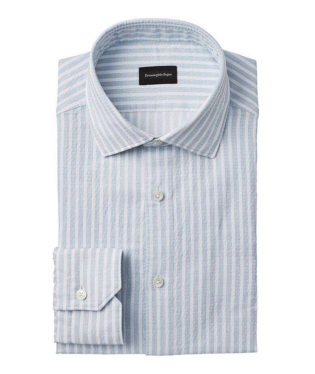 Slim-Fit Striped Seersucker Dress Shirt picture 1
