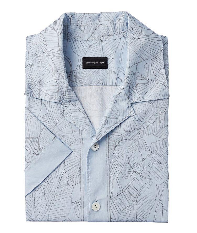 Short-Sleeve Botanical Linen-Cotton Shirt image 0