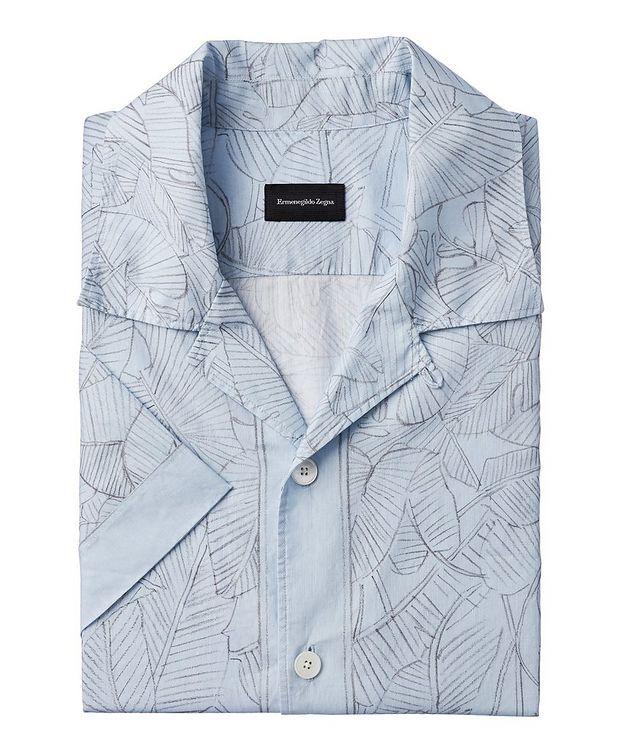 Short-Sleeve Botanical Linen-Cotton Shirt picture 1