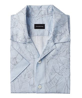 Ermenegildo Zegna Short-Sleeve Botanical Linen-Cotton Shirt