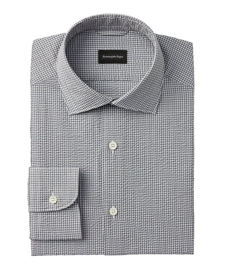 Slim-Fit Checked Seersucker Dress Shirt image 0