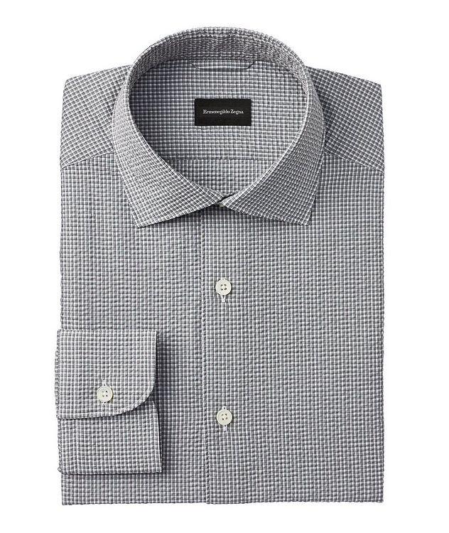 Slim-Fit Checked Seersucker Dress Shirt picture 1