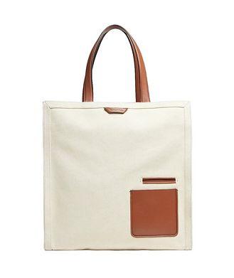 Ermenegildo Zegna Cotton And Calfskin Tote Bag