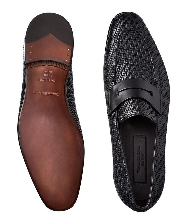 L'Asola Woven Leather Loafers picture 3